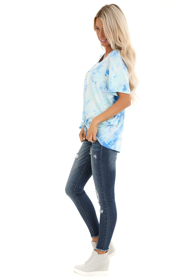 Sky Blue and Aqua Tie Dye Short Sleeve Top with Front Tie side full body