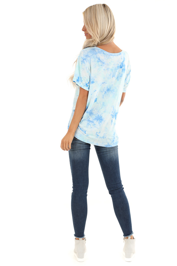 Sky Blue and Aqua Tie Dye Short Sleeve Top with Front Tie back full body