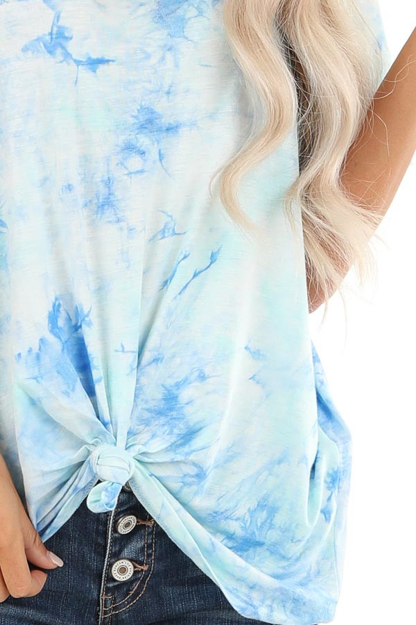 Sky Blue and Aqua Tie Dye Short Sleeve Top with Front Tie detail