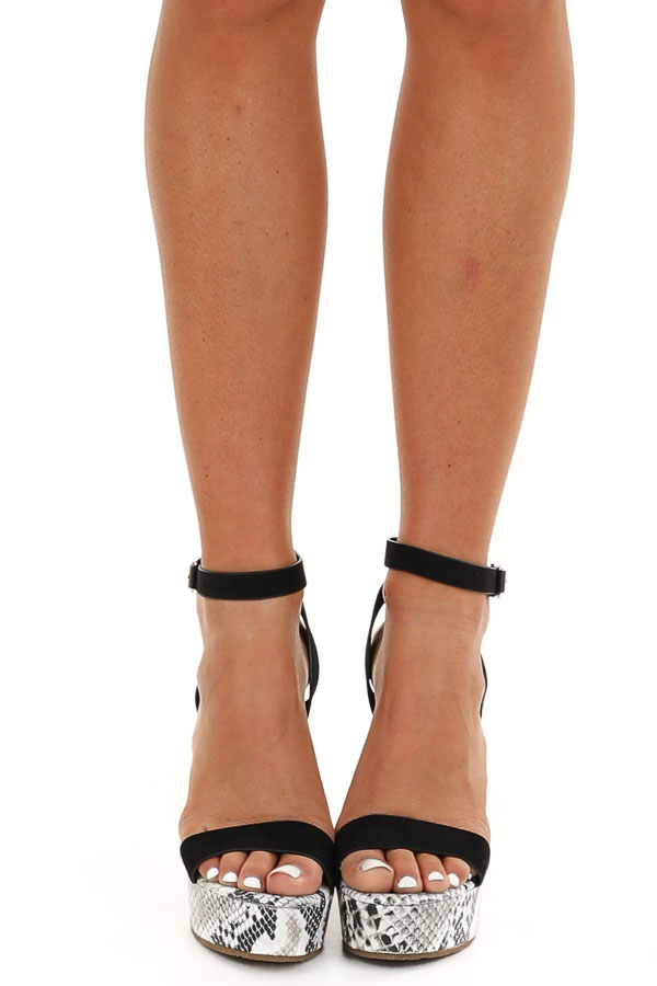 Black Snakeskin Wedge Sandals with Criss Cross Ankle Strap front view