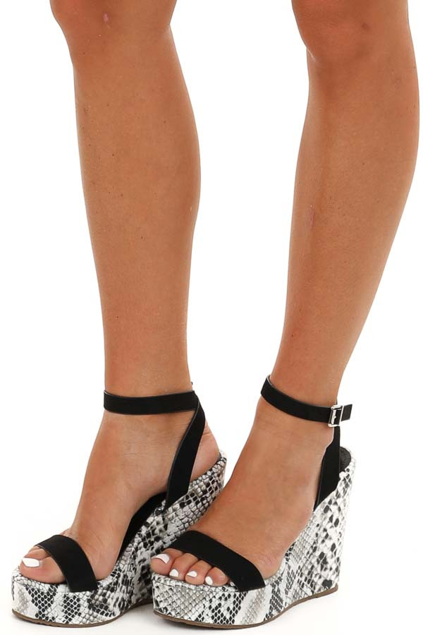 Black Snakeskin Wedge Sandals with Criss Cross Ankle Strap side view