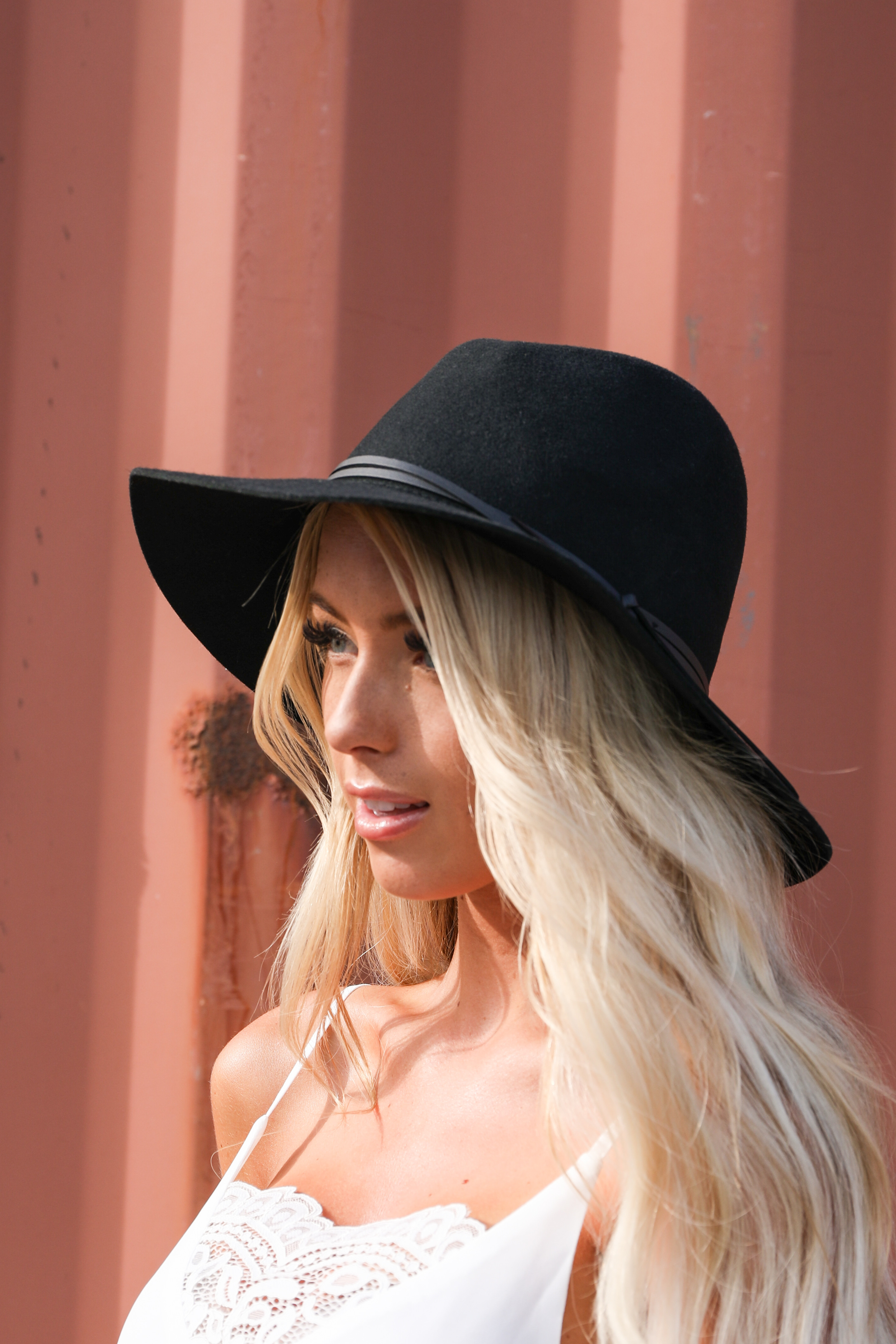 Midnight Black Wool Panama Hat with Faux Leather Band Detail front side view