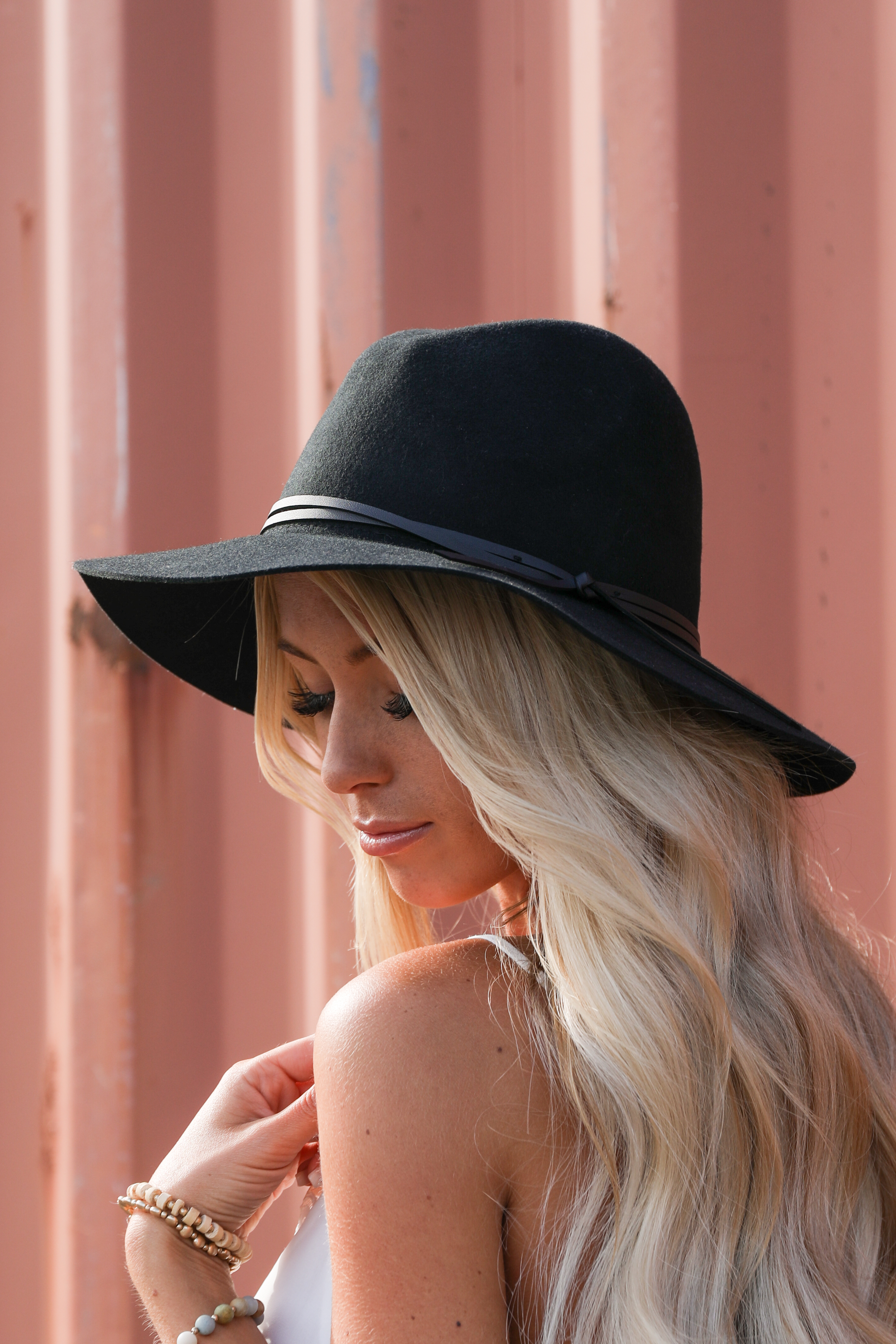 Midnight Black Wool Panama Hat with Faux Leather Band Detail side view