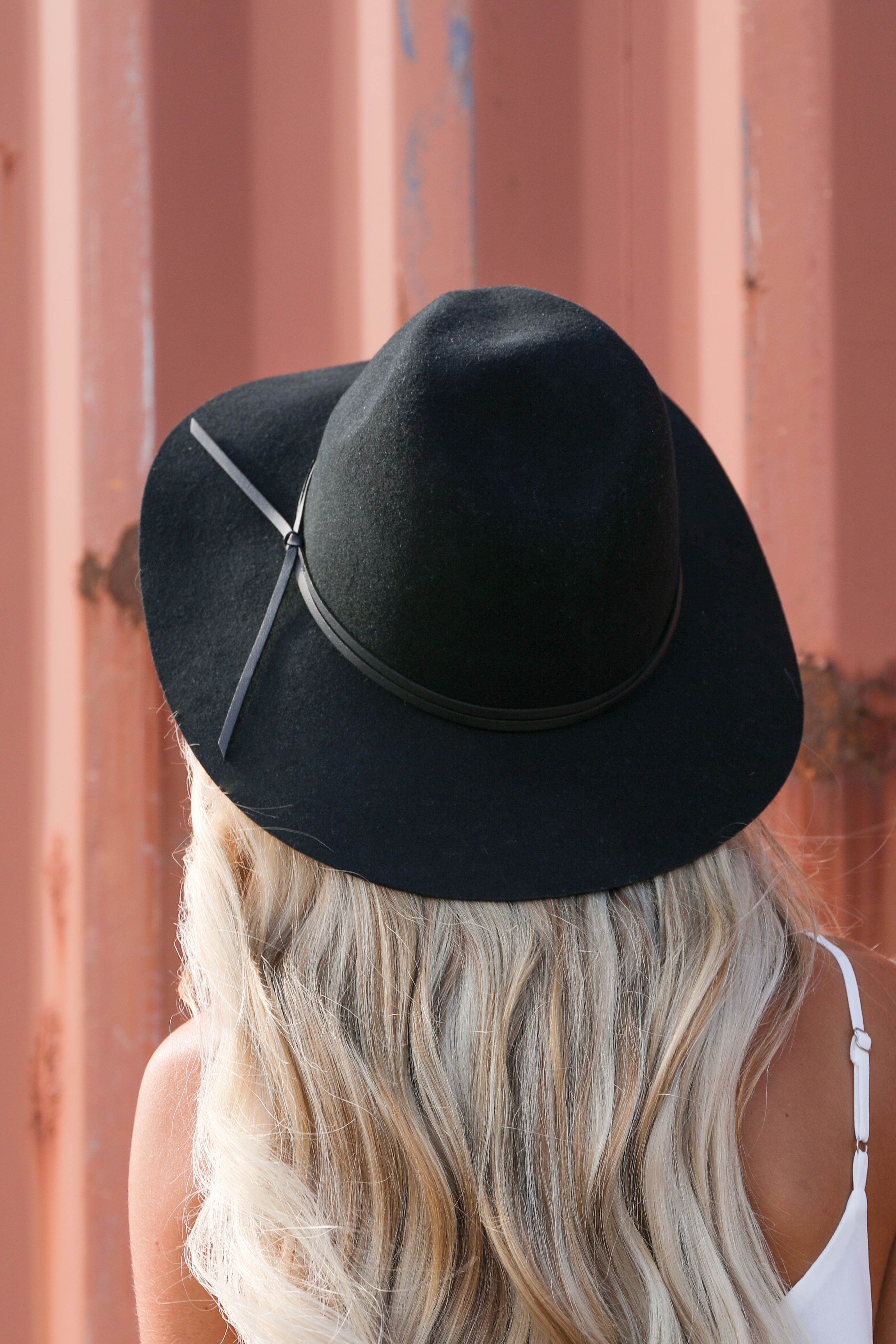 Midnight Black Wool Panama Hat with Faux Leather Band Detail back veiw
