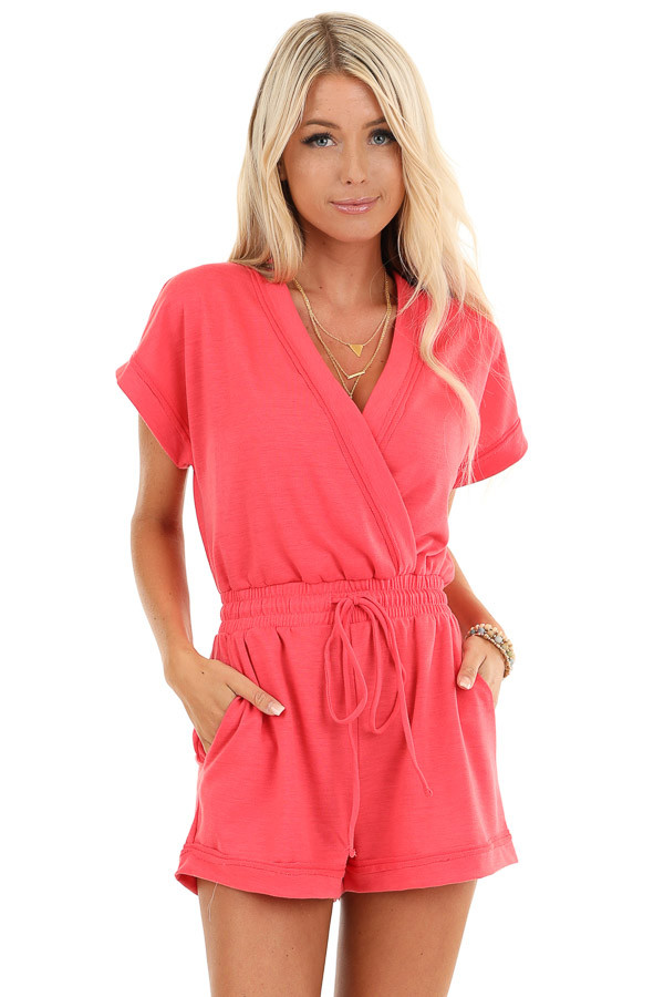 Punch Pink Short Sleeve Surplice Romper with Side Pockets front close up