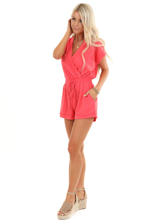 Punch Pink Short Sleeve Surplice Romper with Side Pockets side full body