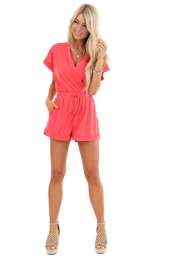 Punch Pink Short Sleeve Surplice Romper with Side Pockets front full body