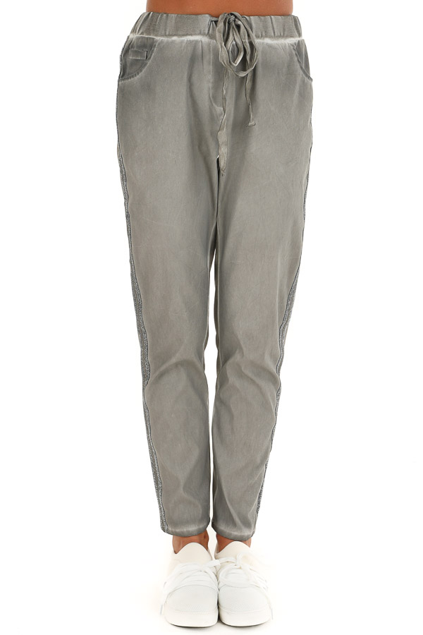 Ash Grey Oil Washed Tapered Pants with Glitter Tape Detail front view