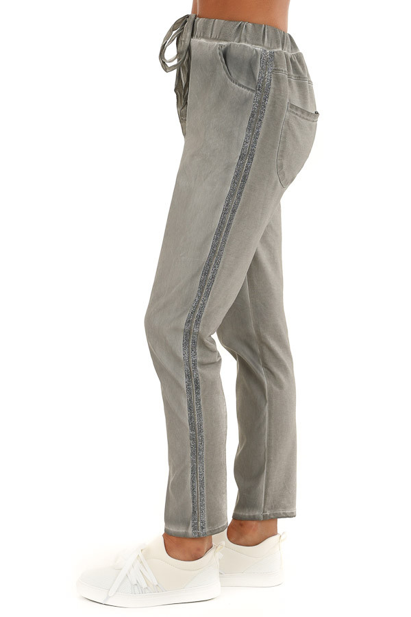 Ash Grey Oil Washed Tapered Pants with Glitter Tape Detail side view
