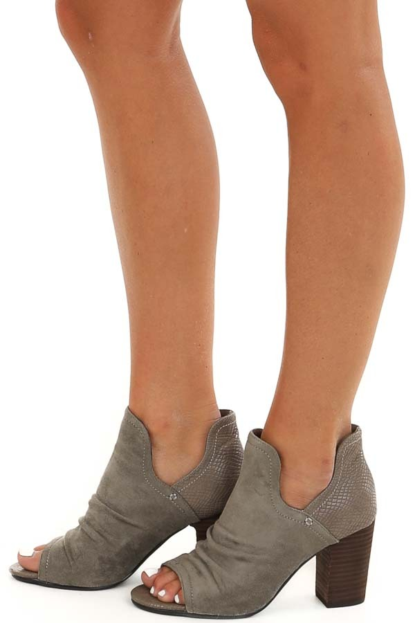 Stone Grey Faux Suede and Snake Skin Open Toed Heels side view