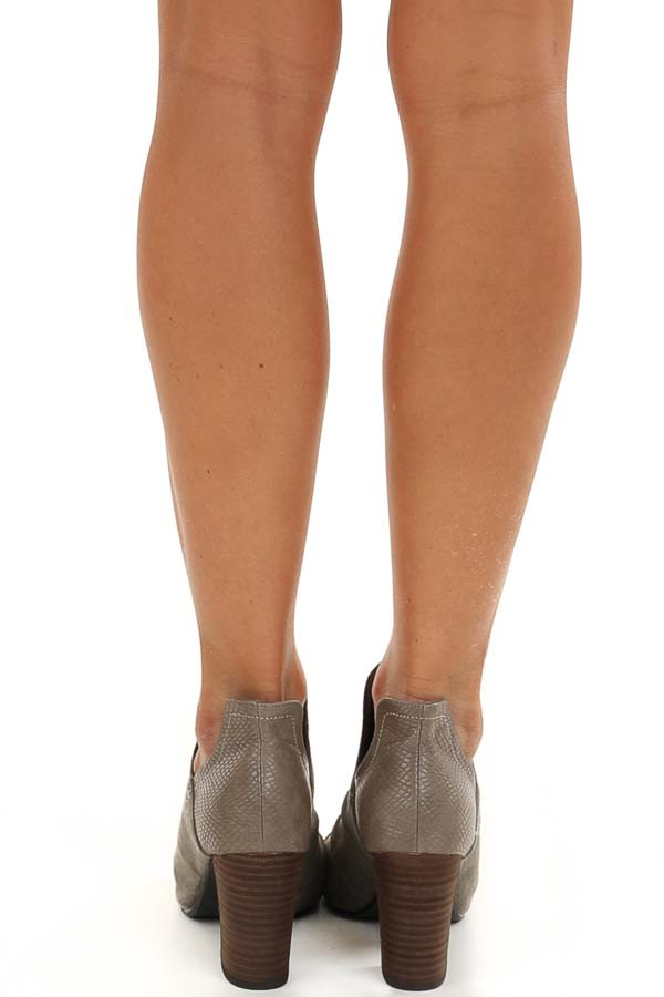 Stone Grey Faux Suede And Snake Skin Open Toed Heels
