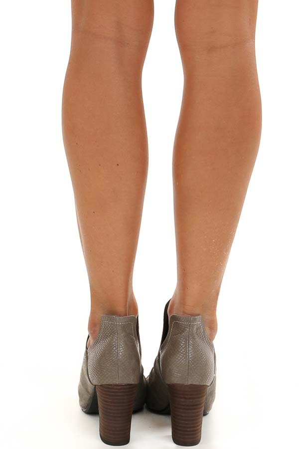 Stone Grey Faux Suede and Snake Skin Open Toed Heels back view
