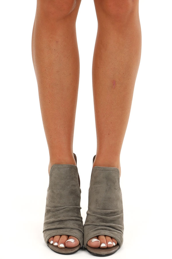 Stone Grey Faux Suede and Snake Skin Open Toed Heels front view