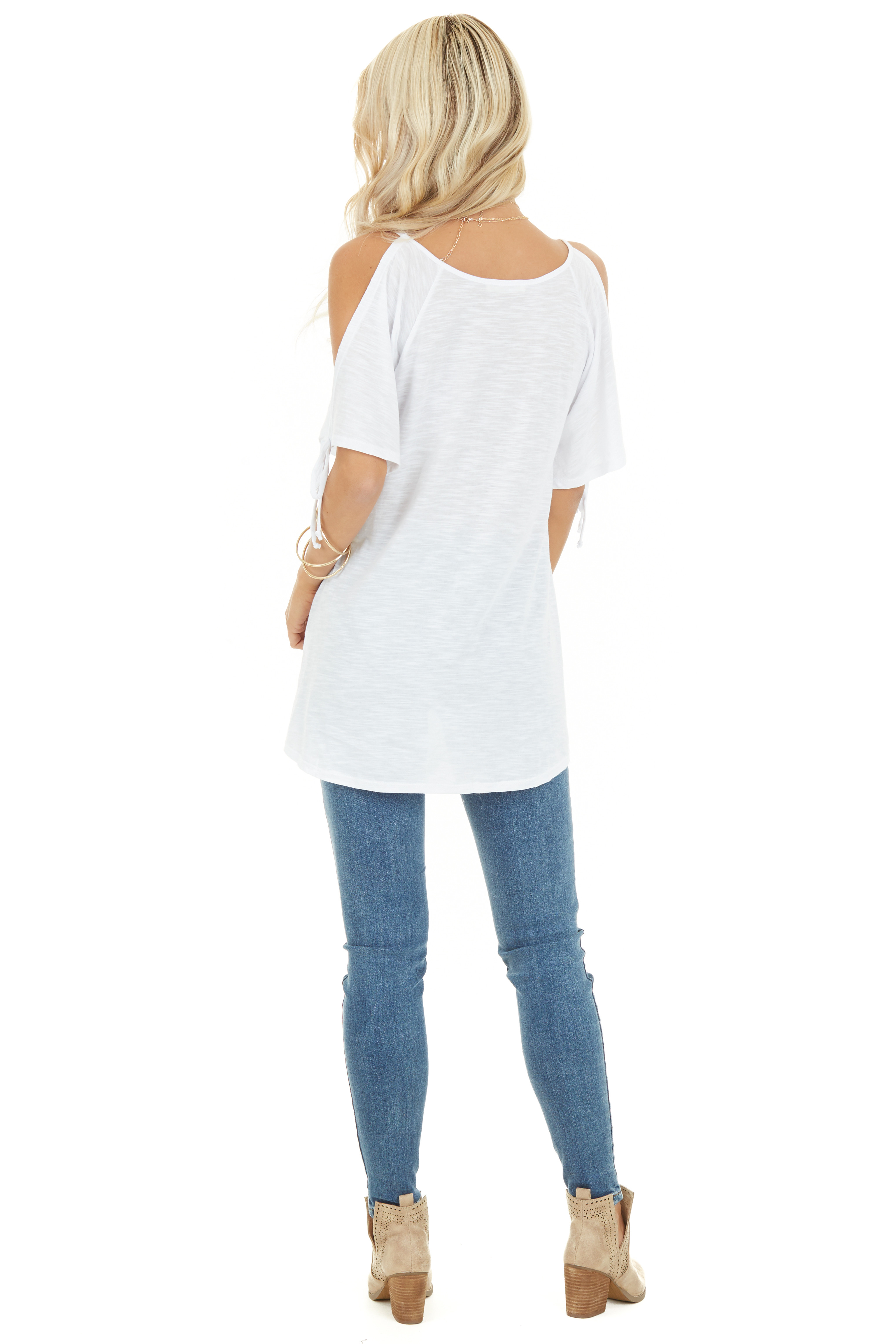 Heathered Ivory Cold Shoulder Short Sleeve Top with Ties back full body