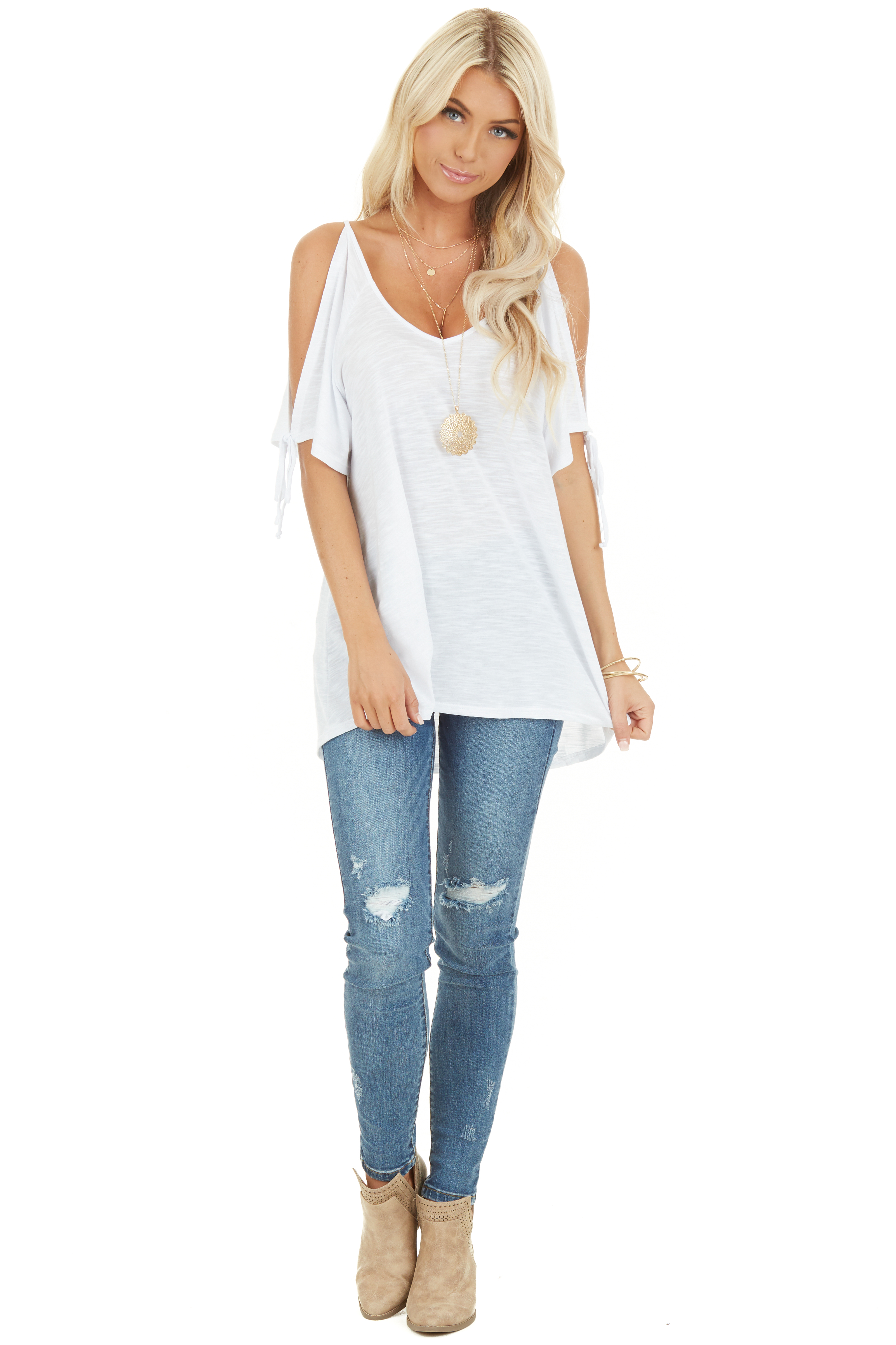 Heathered Ivory Cold Shoulder Short Sleeve Top with Ties front full body