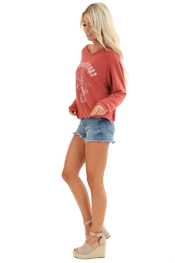 Faded Rust 'Find Your Road' Graphic Sweatshirt side full body