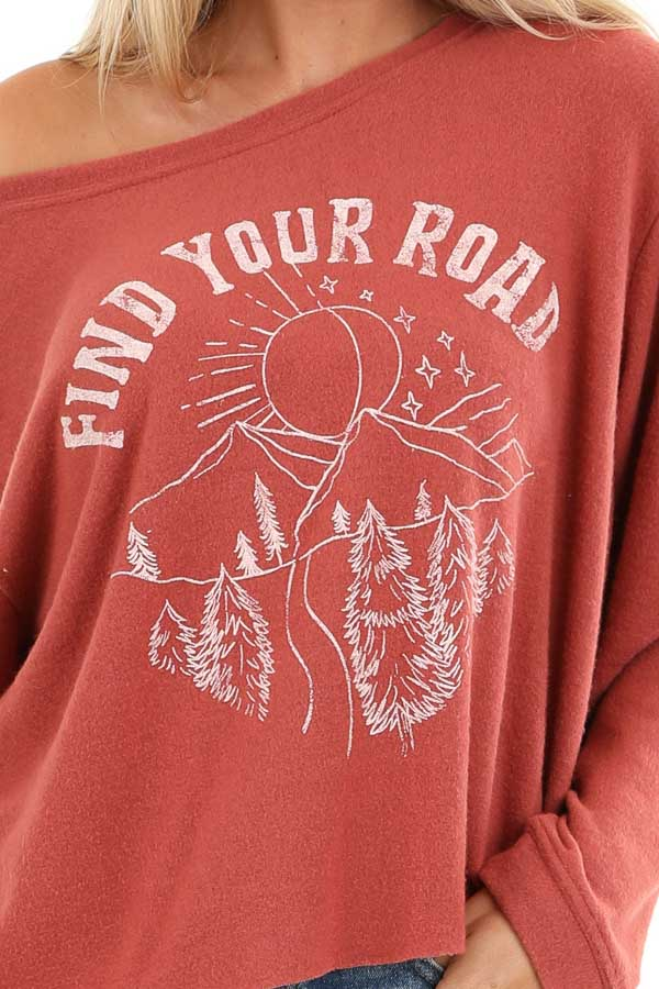 Faded Rust 'Find Your Road' Knit Graphic Sweatshirt detail
