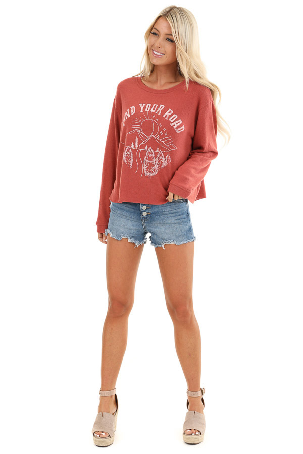 Faded Rust 'Find Your Road' Graphic Sweatshirt front full body