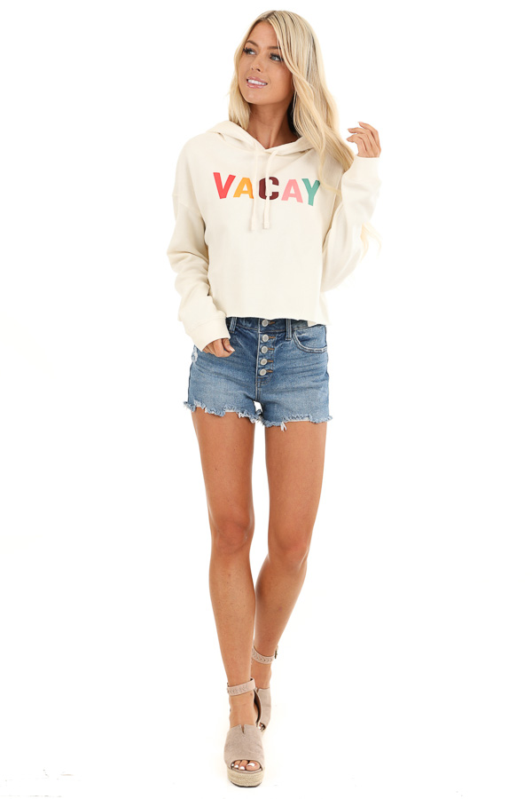 Cream 'Vacay' Colorful Graphic Hoodie with Cropped Hemline front full body