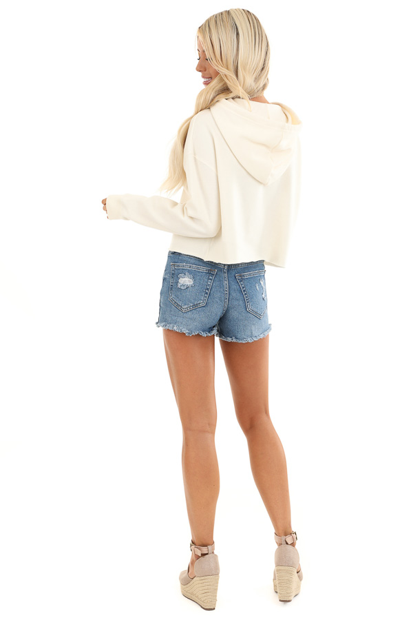 Cream 'Vacay' Colorful Graphic Hoodie with Cropped Hemline back full body