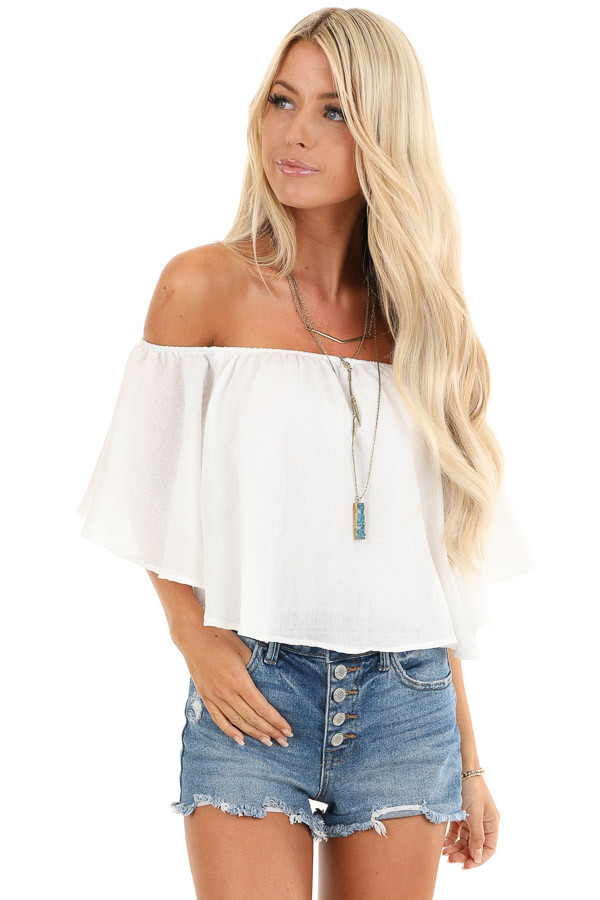 Daisy White Off the Shoulder Crop Top with Ruffle Overlay front close up