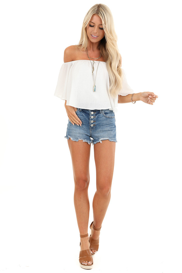 Daisy White Off the Shoulder Crop Top with Ruffle Overlay front full body