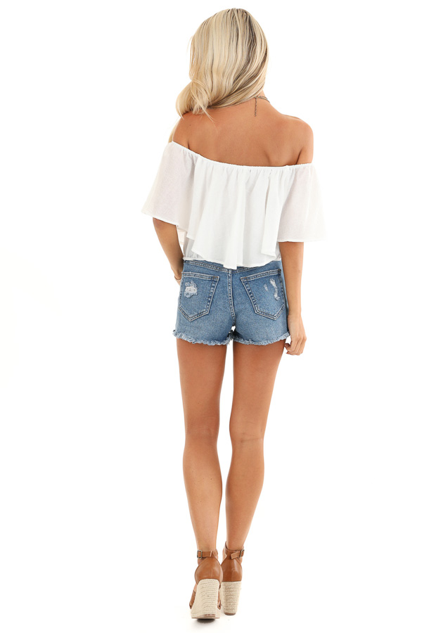 Daisy White Off the Shoulder Crop Top with Ruffle Overlay back full body