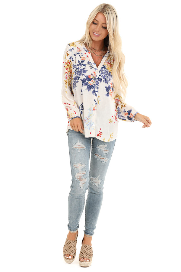 Vanilla Floral Print Button Down V Neck Peasant Top front full body