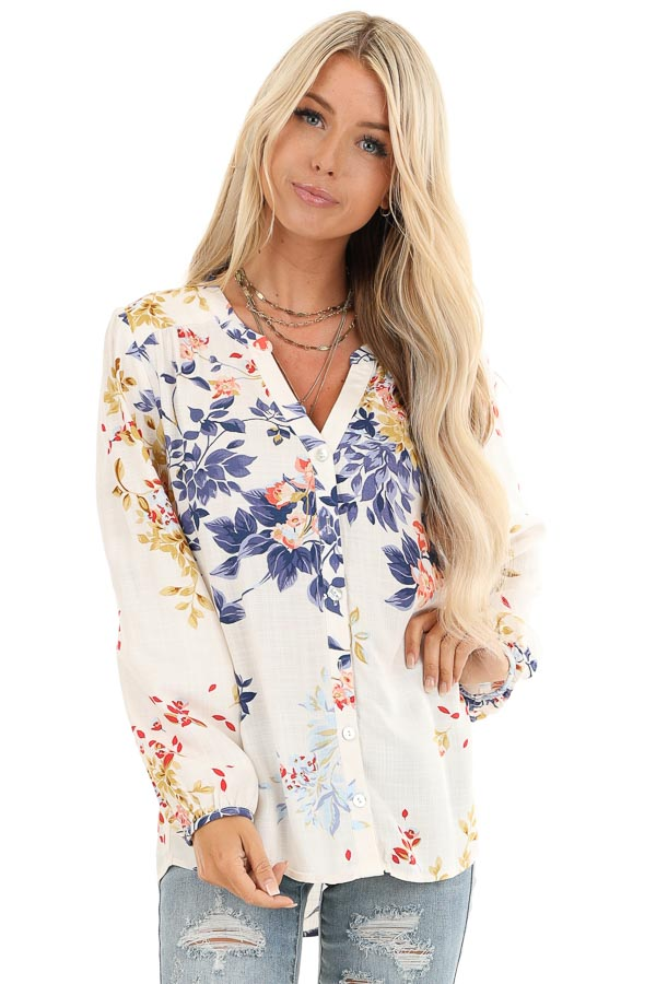 Vanilla Floral Print Button Down V Neck Peasant Top front close up