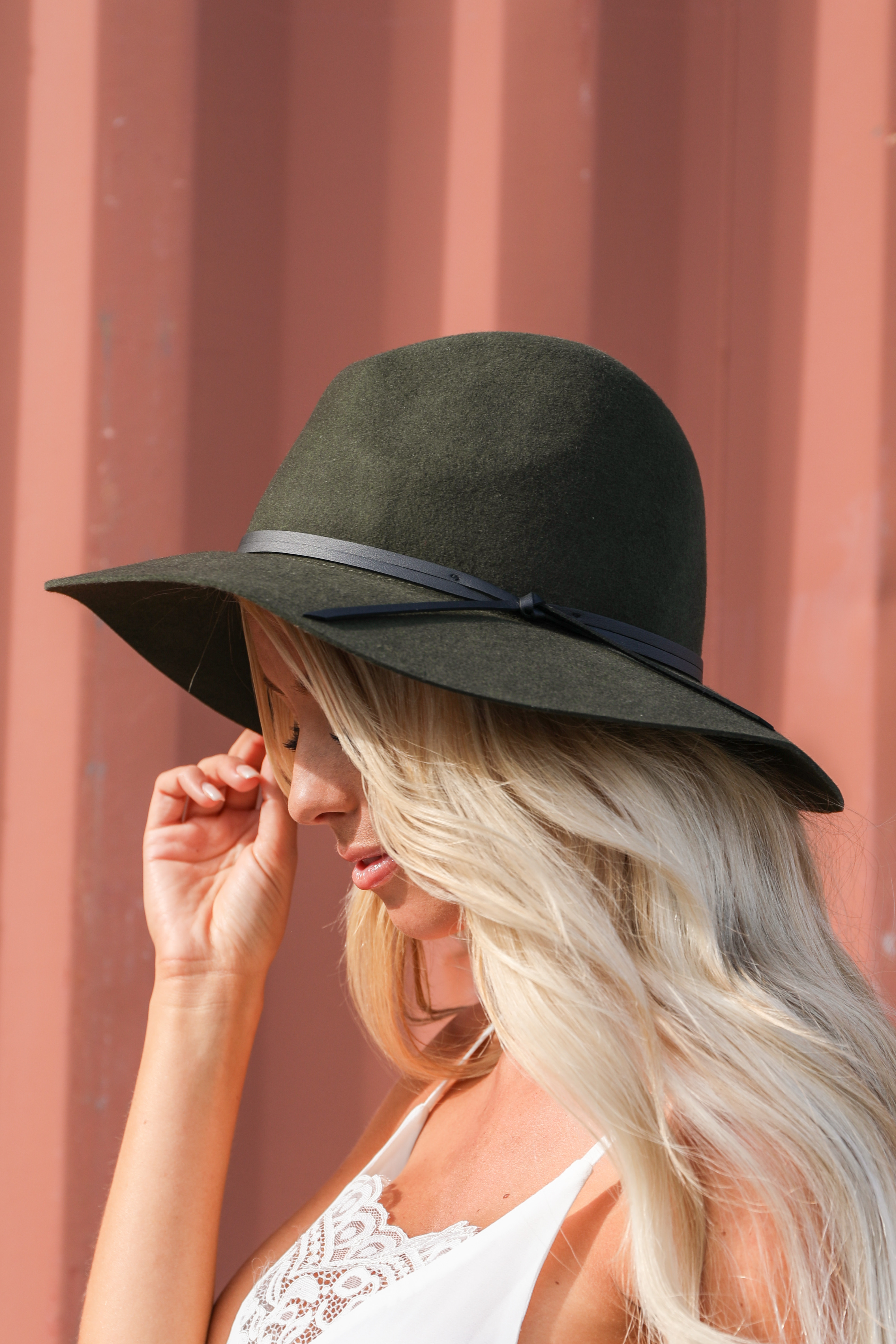 Olive Green Wool Panama Hat with Faux Leather Band Detail side