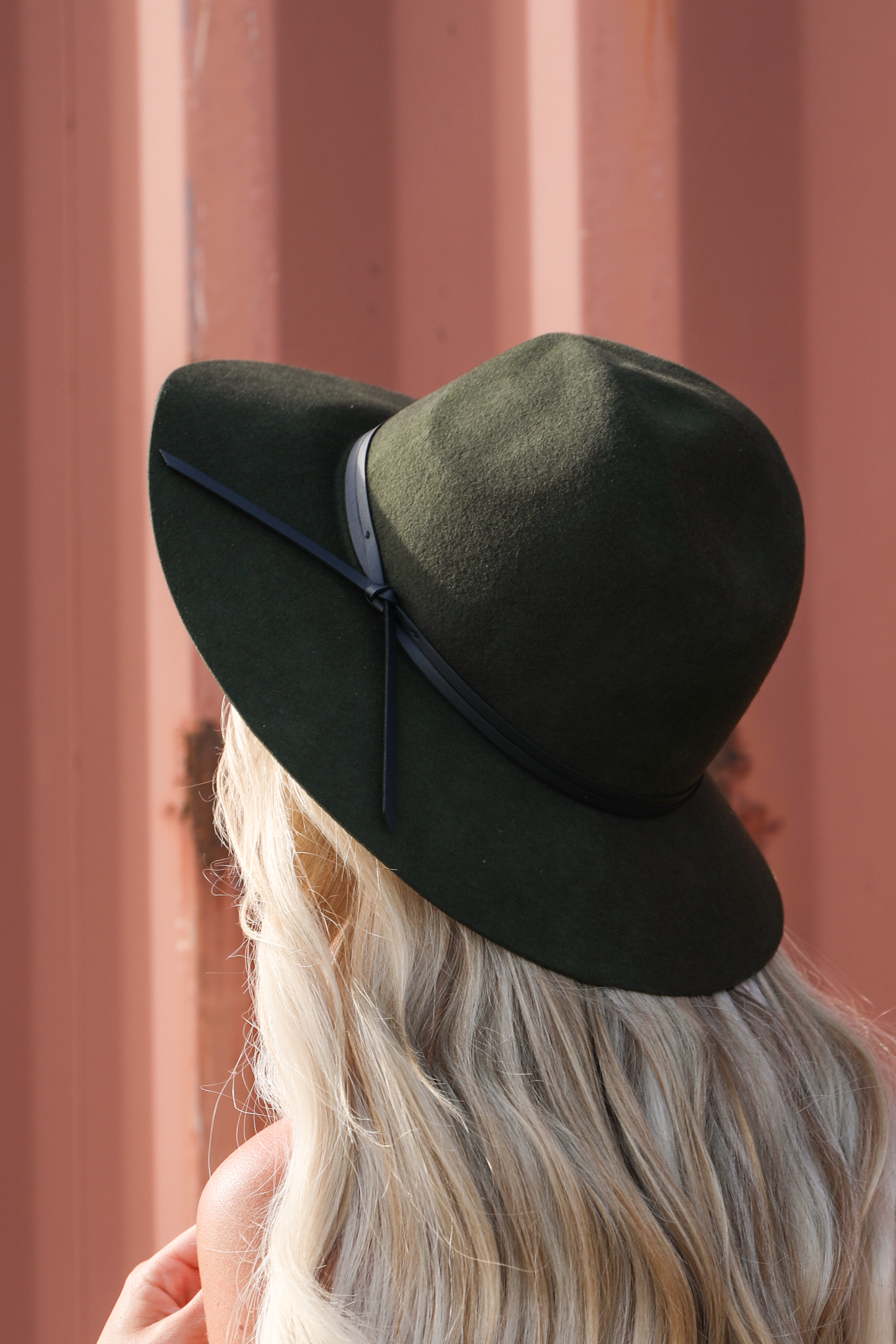 Olive Green Wool Panama Hat with Faux Leather Band Detail back