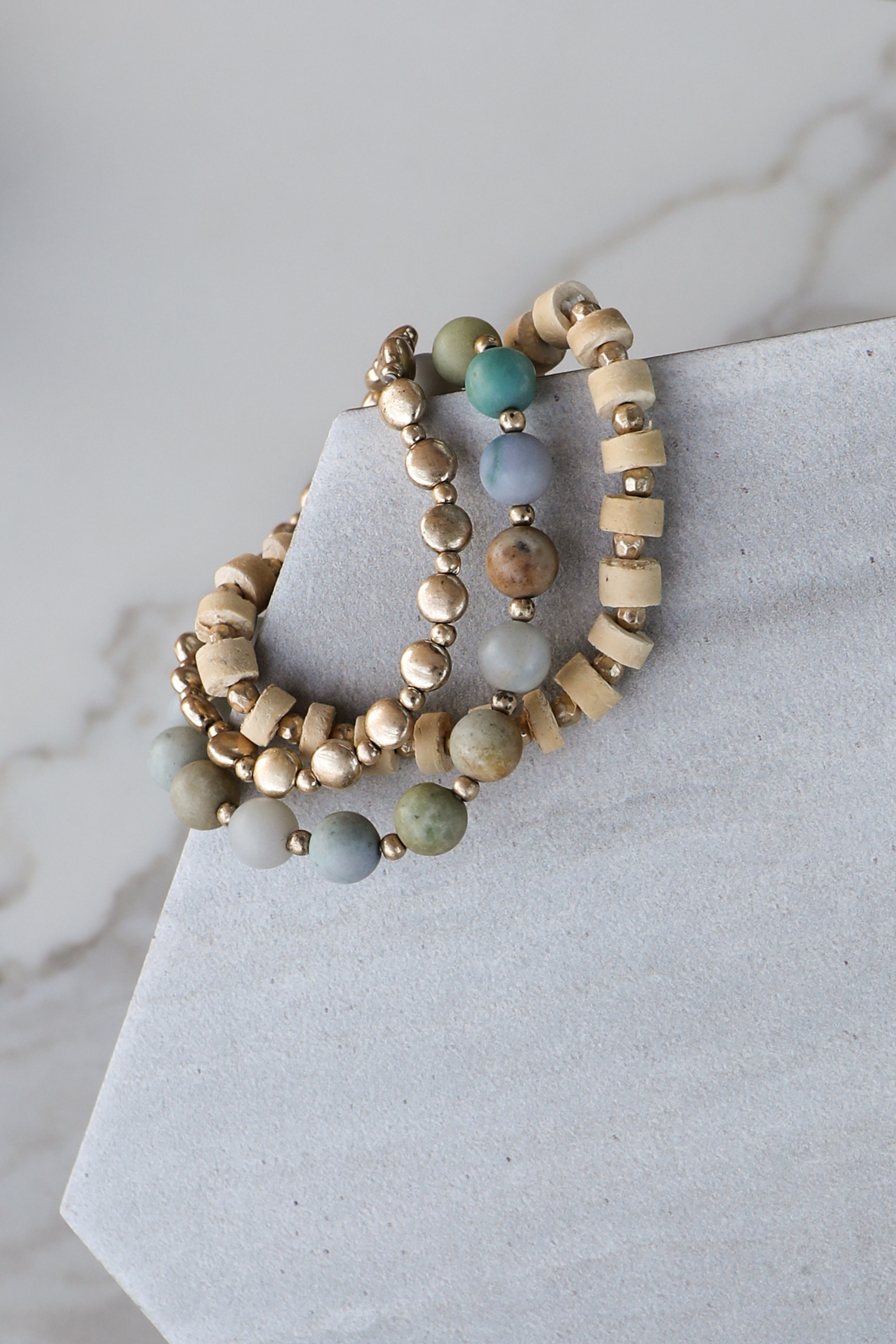 Seafoam and Gold Natural Beaded Bracelet Set
