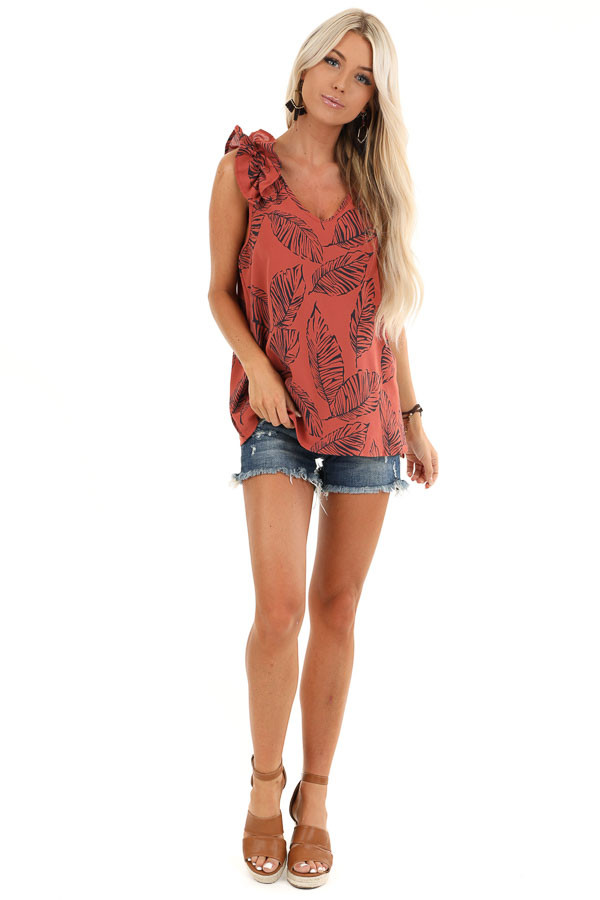 Brick Tropical Print Tank Top with Ruffle Details front full body
