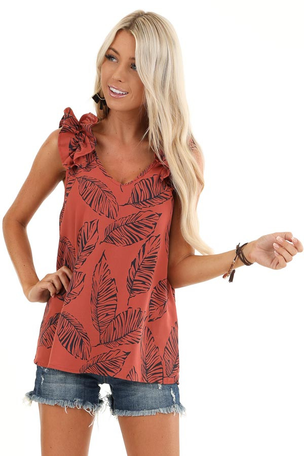 Brick Tropical Print Tank Top with Ruffle Details front close up