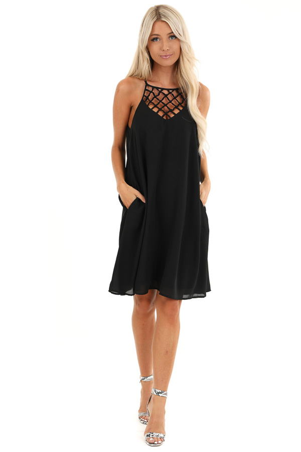 Raven Black Sleeveless Mini Dress with Cage Neckline Detail front full body
