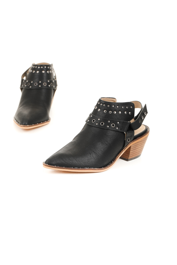 Obsidian Pointed Toe Mules with Studded Details