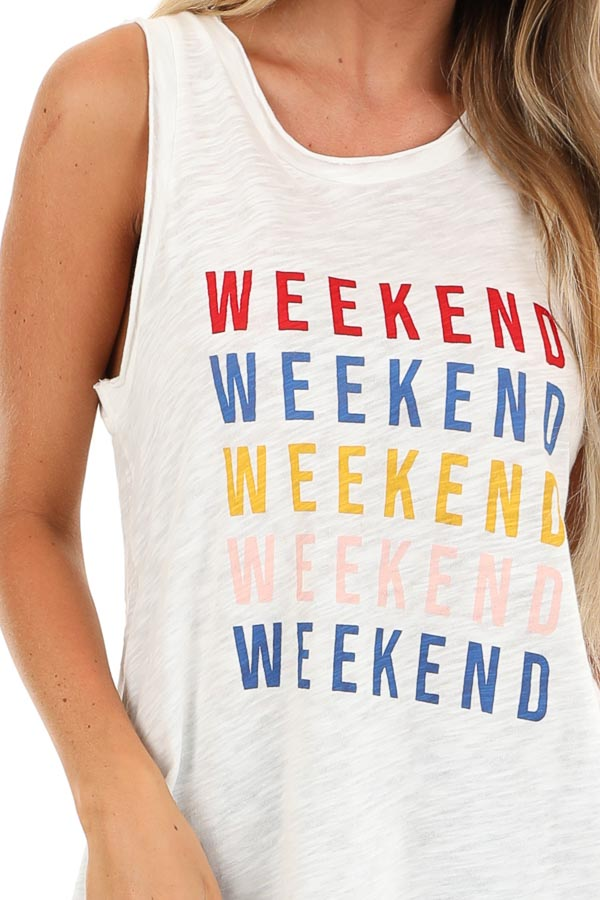 Ivory Multi Color 'Weekend' Graphic Tank Top detail