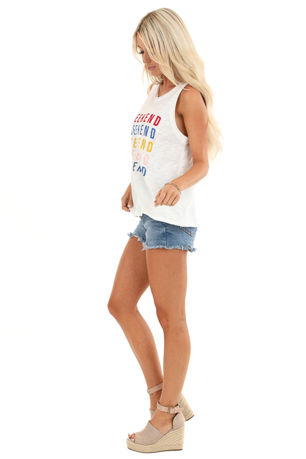 Ivory Multi Color 'Weekend' Graphic Tank Top side full body