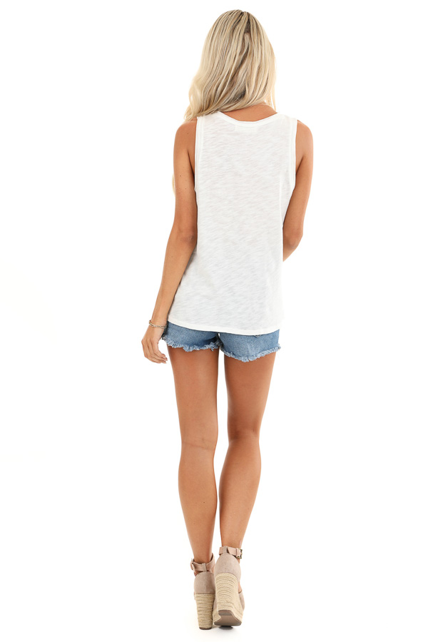 Ivory Multi Color 'Weekend' Graphic Tank Top back full body