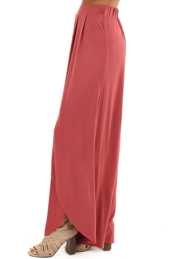 Marsala Wide Leg Pants with Elastic Waist and Slit Details side view