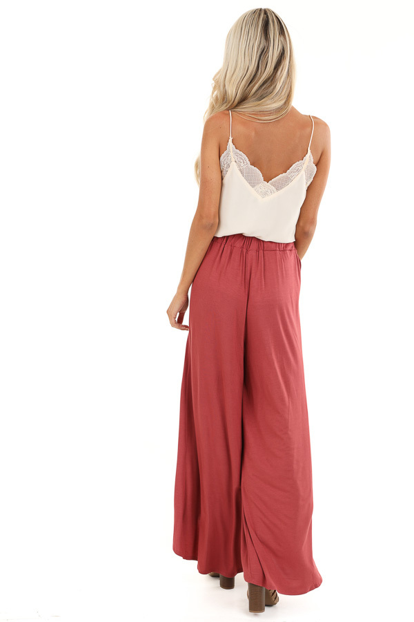 Marsala Wide Leg Pants with Elastic Waist and Slit Details back full body