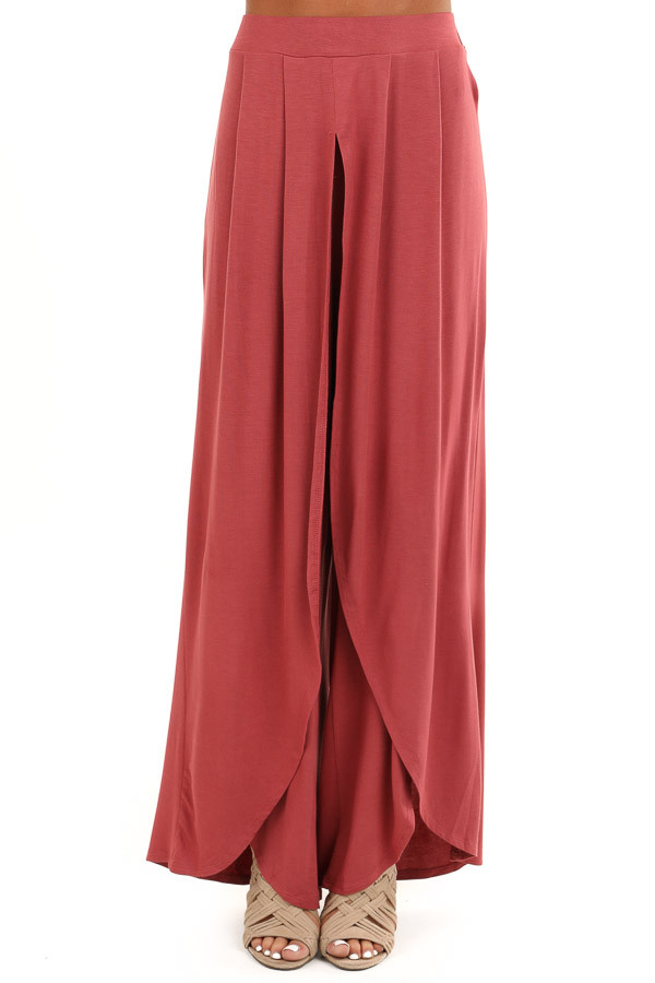 Marsala Wide Leg Pants with Elastic Waist and Slit Details front view