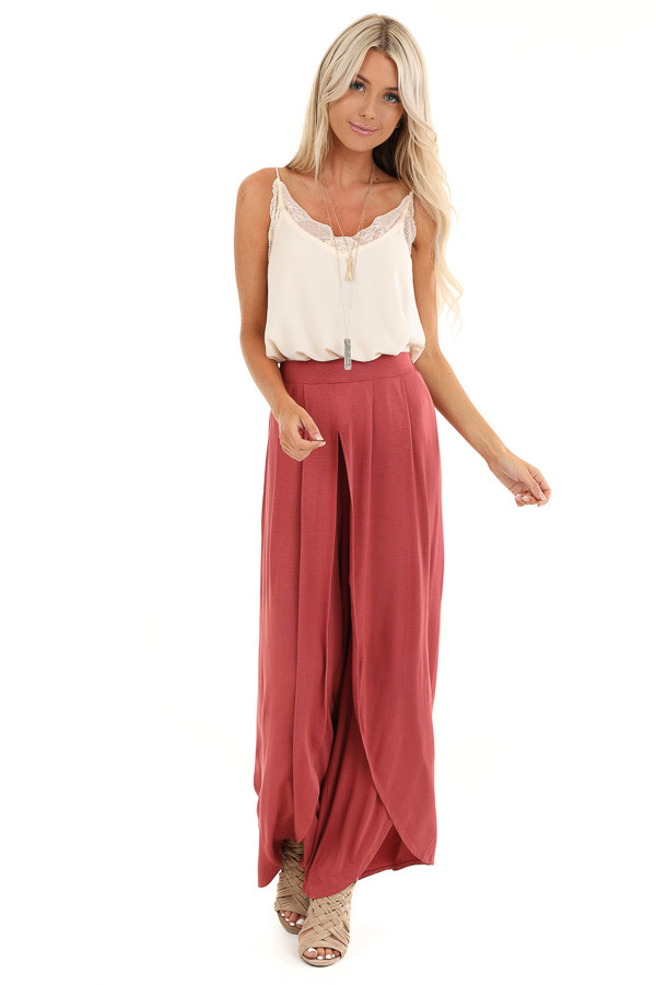 Marsala Wide Leg Pants with Elastic Waist and Slit Details front full body