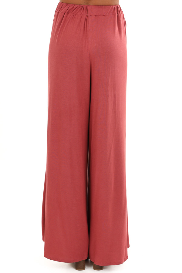 Marsala Wide Leg Pants with Elastic Waist and Slit Details back view