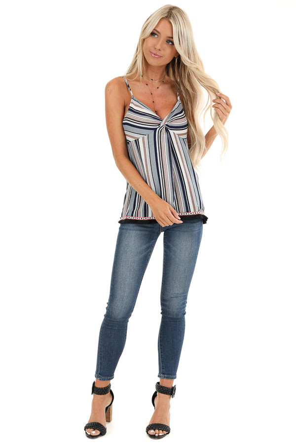 Multicolor Striped Tank Top with Fringe Detail front full body