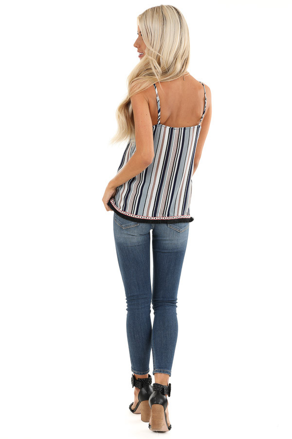 Multicolor Striped Tank Top with Fringe Detail back full body