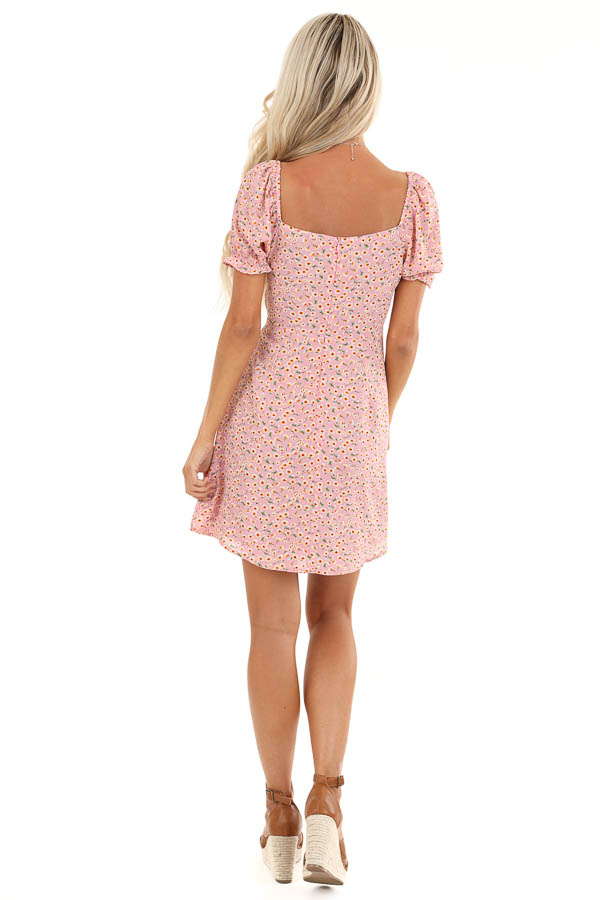 Pale Pink Floral Print Mini Dress with Cinched Tie Detail back full body