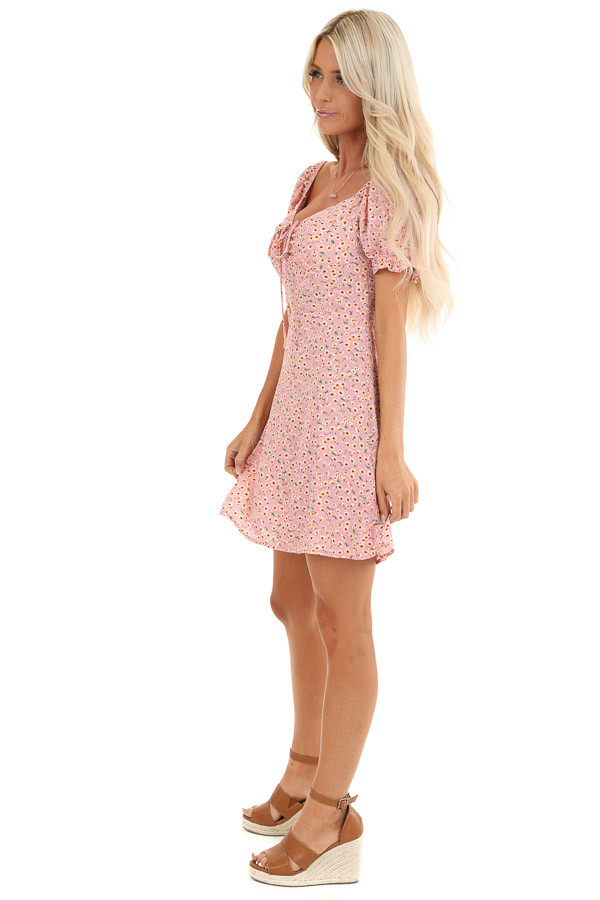 Pale Pink Floral Print Mini Dress with Cinched Tie Detail side full body
