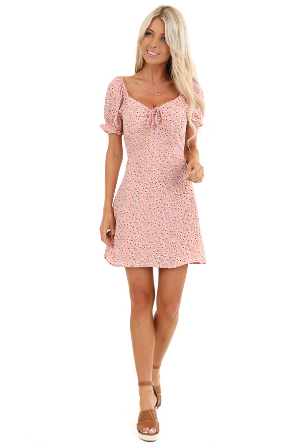 Pale Pink Floral Print Mini Dress with Cinched Tie Detail front full body