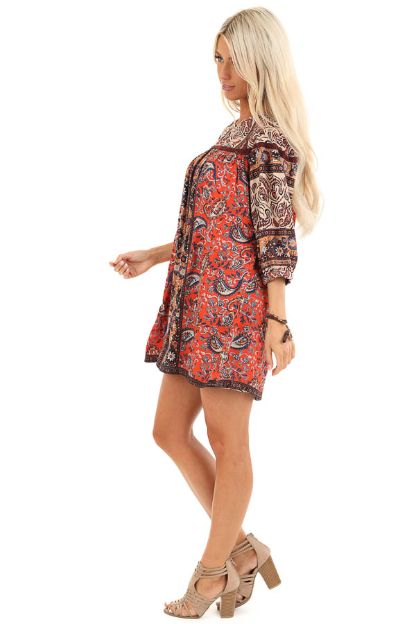 Orange Spice Paisley Printed Short Dress with Lace Details side full body